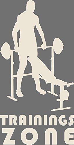 GRAZDesign Wandtattoo Trainingszone Wandsticker für Fitnessbereich Sportler Motivation, Fitness, Fitnessraum (112x57cm//816 Antique White)