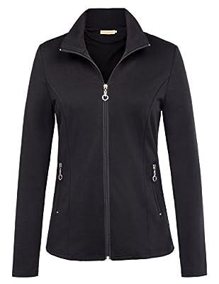 Kate Kasin Women's Stand Collar Sport Jacket Casual Lightweight Zip-up Tops Coat
