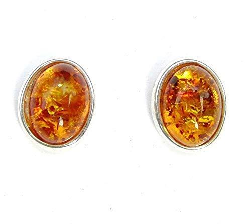 Amber Oorbellen | Medium Ovale Amber Oorstekers | 925 Sterling Zilver & Echte Amber Oorbellen