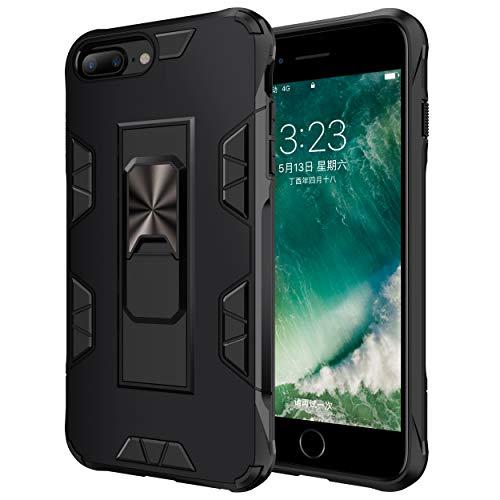 jaligel Custodia iPhone 7 Plus/8 Plus, iPhone 6 Plus Cover, Custodia con Cavalletto(Lavoro con Supporto Magnetico per Auto) Bumper Silicone Protettiva Case Slim Armor Anti-Graffio Custodia - Nero