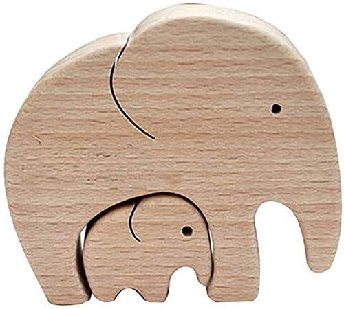 SJAUE Bliev Elephant Mother and Child Wood Elephants - elephant mother and child best mom in the world for Wife Daughter Grandma Mother's Day Birthday (2 pcs)