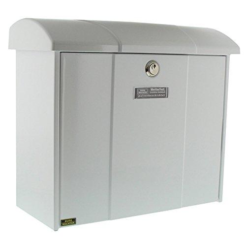 Burg-Wächter Briefkasten mit aufklappbarem Regendach, A4 Einwurf-Format, EU Norm EN 13724, Verzinkter Stahl, Olymp 916 W, Weiß