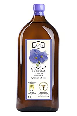 LINSEED / FLAXSEED OIL - dr BUDWIG Diet, Cold Pressed, Unrefined, Crude. Omega 3 55% - Ol'Vita, 1Litre