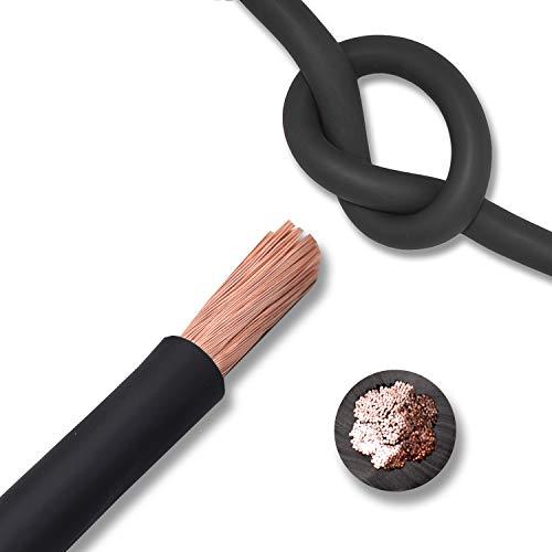 EBROM Batteriekabel hochflexibel Hi-Flex (Hi Flex) 95mm2 Kabel – Meterware SCHWARZ - sehr biegsam – Mantel aus PVC (70 ± 5 Shore) – 100% OFC Kupfer 95 mm² - als Starterkabel, Ladekabel oder ähnliches