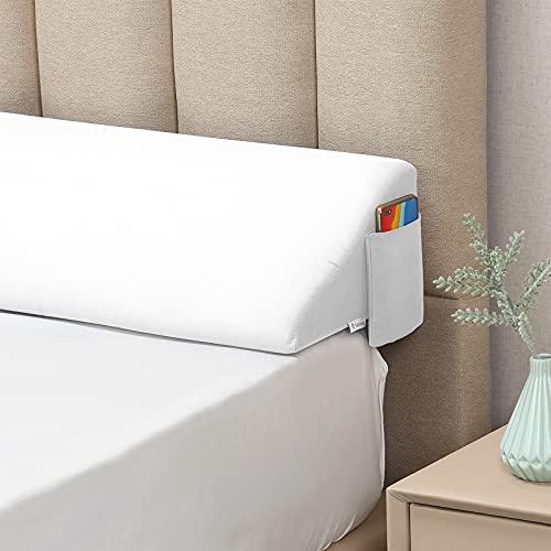 """Vekkia King Size(76""""x10""""x8"""") Bed Wedge Pillow/Headboard Pillow/Mattress Wedge,Gap Filler to Close The Gap (0-7'') Between Headboard and Mattress (White)"""