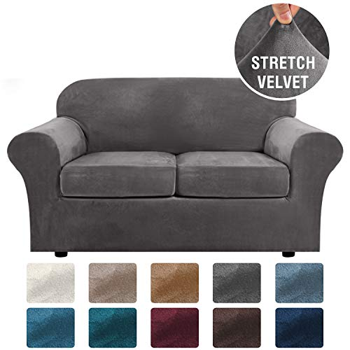 H.VERSAILTEX Real Velvet Plush 3 Piece Stretch Sofa Cover Velvet-Sofa Slipcover Loveseat Cover Furniture Protector Couch Soft Loveseat Slipcover for 2 Cushion Couch with Elastic Bottom(Loveseat,Grey)