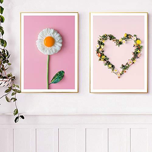UIOLK Pintura de Lienzo nórdica Moderna Frangipani sandía Fruta Arte de la Pared impresión y póster Pared de la Cocina Sala de Estar decoración del hogar