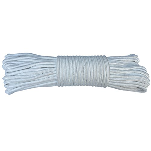 AmgateEu Corde de drisse pour drapeau 24,4 m, 0,6 cm en polyester pour mâts jusqu'à 10,7 m, blanche.
