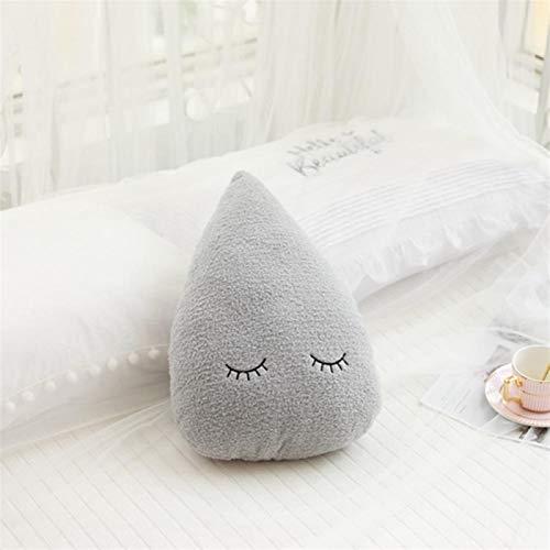 LIYDENG Cojín de peluche con diseño de luna y gota de agua para decoración de la habitación (color: gota de agua gris)