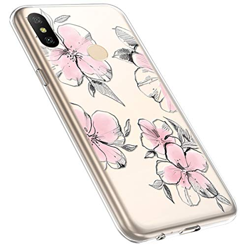 MoreChioce kompatibel mit Xiaomi A2 Lite Hülle,Redmi 6 Pro Handyhülle Blume,Ultra Dünn Transparent Silikon Schutzhülle Clear Crystal Rückschale Tasche Defender Bumper,Blumenzweig #28