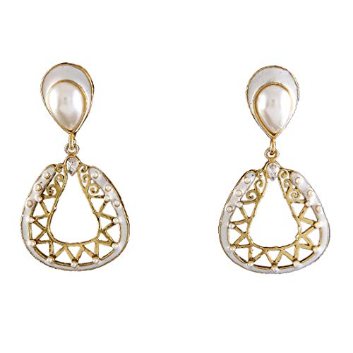 JewelryGift Sparkling Pearl Dangle Earrings 18K Gold Plated Pearl Studded Enamelled Handcrafted Work Baali Kundal Designer Fashion Jewellery for Girlfriend Wife ME 70-WHITE