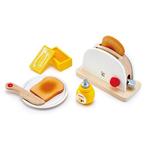 Hape International Tostadora de Salto, Set de Juguetes de Cocina con Accesorios de Desayuno para Niños y Niñas