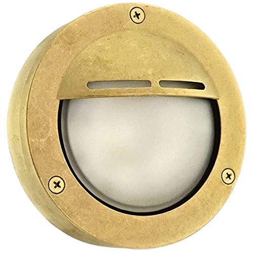 Cowl Aplique de Pared Exterior-Interior, Lámpara industrial de latón rústico, Lámparas plafón de techo, Impermeable ,Iluminación marina y de jardín (Latón)
