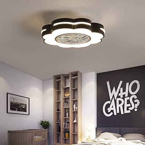 QJUZO Ventiladores de Techo Silencioso con Lámpara, Moderno LED Luz Mando a Distancia Regulable, Metal Invisible Fan Lámpara para Verano, Niños Lámpara, Ø58cm, 46W,Negro