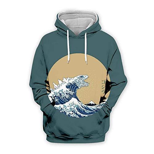 yyqx container 3D Sweatshirt Hoodie Wave 3D Bedrukte Losse Truien met Trekkoord Mode Voorpakket Lange Mouwen Koppels Zachte Hoodies Sweatshirts