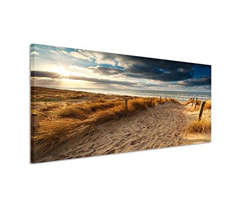Paul Sinus Art 150x50cm Leinwandbild auf Keilrahmen Holland Nordsee Meer Strand Sonnenuntergang Wandbild auf Leinwand als Panorama