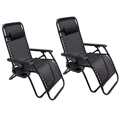 2 x Liegestuhl | Verstellbar Kopfpolster Schwerelosigkeit Oxford Stahl Fußschoner | Garten Liege Hochlehner Gartenstuhl Schwarz (Modell 2)