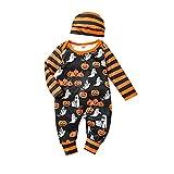 Conjunto de pijama de manga larga con diseño de calabaza, mono a rayas, sombrero y ropa de pijamas, Negro, 0-6 meses
