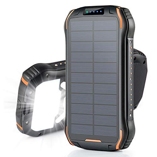 26800mAhモバイルバッテリー Soxono 大容量 ソーラーチャージャー 15W急速充電 ソーラー充電器 三つ出力ポート18個LEDライト付き IPX6防水 耐衝撃 災害/旅行/アウトドアに大活躍に iPhone/iPad/Android対応 (ブラックオレンジ)