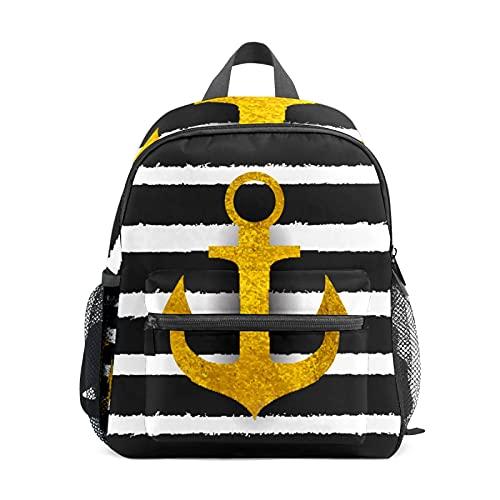 Mini mochila náutica de color dorado a rayas pequeñas mochila para mujer 12 pulgadas bolsa de viaje bolsa de escuela para niñas y niños