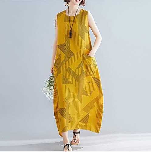 QINwd Plus size vrouwen strandjurk zomerjurk linnen vrouwelijk over de knie lange jurk retro losse vakantie travel nationale jurk met zakken