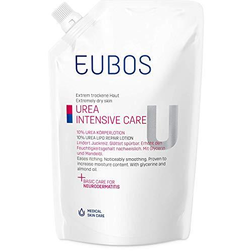 Eubos | 10% UREA Körperlotion, Nachfüllbeutel | 400ml | für trockene Haut | Hautvertäglichkeit dermatologisch bestätigt | Verbesserung Hydratationsfähigkeit der Haut | Spezial-Pflegecreme