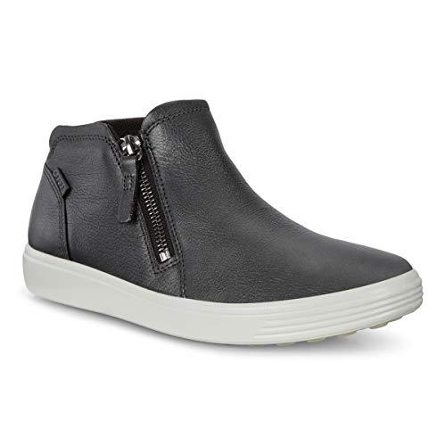 ECCO Women's Women's Soft 7 Zip Bootie Shoe, Black Dark Shadow Metallic, 39 M EU (8-8.5 US)