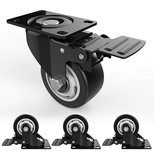 "3"" Swivel Caster Wheels with Safety Dual Locking and Polyurethane Foam No Noise Wheels, Heavy Duty - 250 Lbs Per Caster (Pack of 4)"