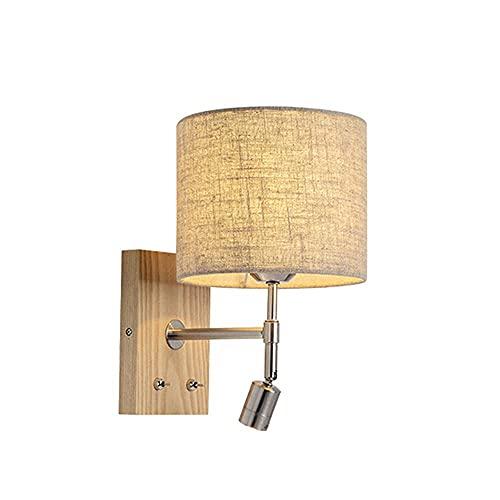 Lámparas de pared con brazo oscilante, iluminación LED para lectura junto a la cama, foco, lámpara de pared de madera maciza moderna y simple en el pasillo de la sala de estar del dormitorio