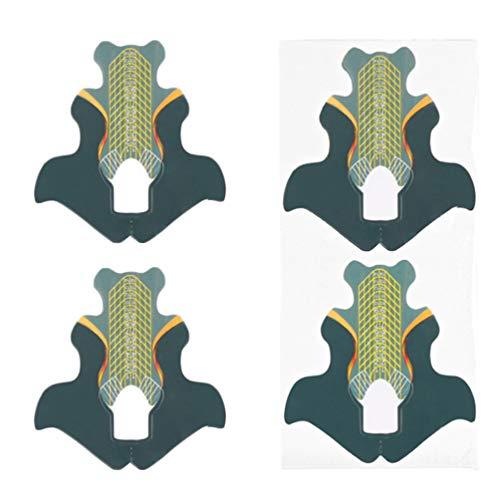 Beaupretty 100 Pcs Papier Ongles Extension Conseils Forme Guide Autocollants Nail Gel Extension Moule Conseils pour Bricolage Artisanat Nail Art Manucure Outil (Vert)