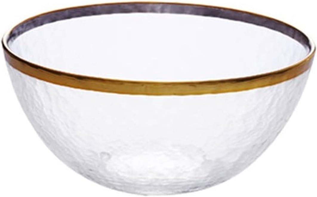 Glass Salad Bowl Gold Edge Sale price Fru Inlay Many popular brands