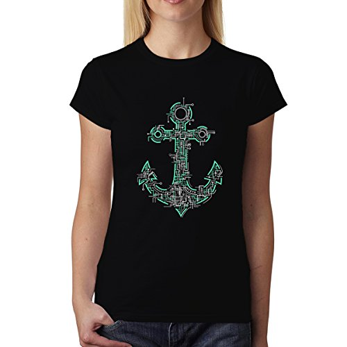 avocadoWEAR Ancla del Barco Marinero Eléctrico Mujer Camiseta Negro XL