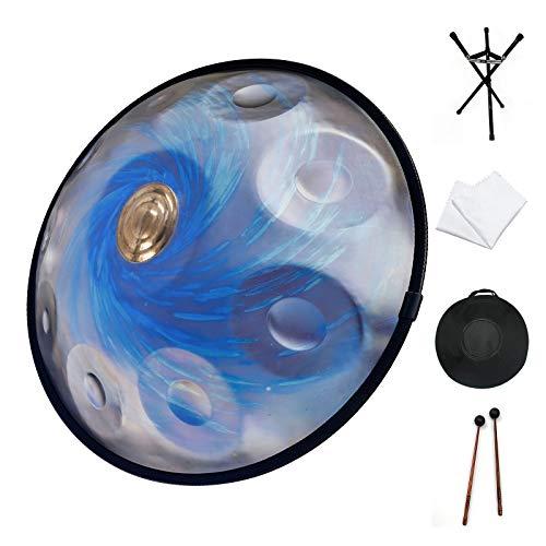 Handpan drum, ASTEMAN handpan drum instruments in D Minor 10 Notes 22 inches Steel Hand Drum with Soft Hand Pan Bag, 2 handpan mallet,Handpan Stand,dust-free cloth, Black HoleBlue.