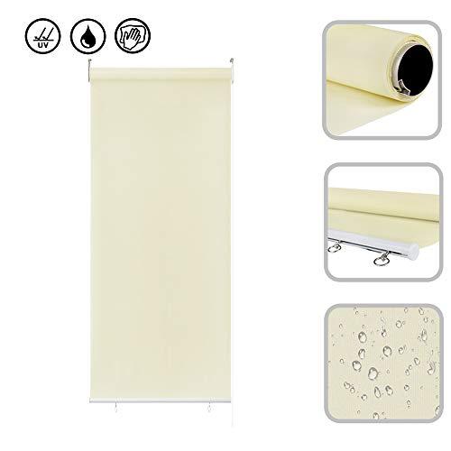 Froadp 100x240cm Senkrechtmarkise Außenrollo Sichtschutzrollo Reflektierende Thermofunktion Balkonrollo für Fenster & Türen(Beige)