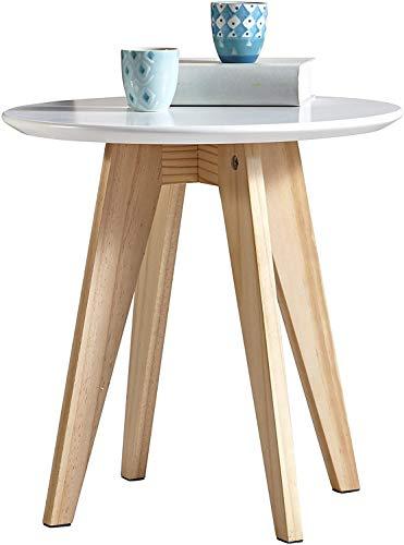 habeig Beistelltisch Rondo aus Echtholz und MDF mit extra Dicker Tischplatte im skandinavischen Design 40cm Durchmesser