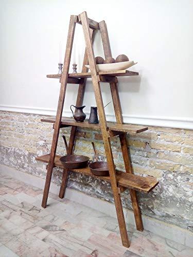 Escalera tipo vintage decorativa de repisas acabado rústico