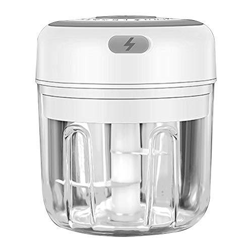 MCTY Mini cortador de ajos eléctrico inalámbrico, 250 ml, triturador de ajos portátil, sin BPA, mini picadora de alimentos para carne, chile, verduras, frutos secos, accesorios de cocina