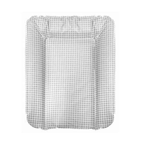 Wickelauflage Größe (T/B) 70 x 55 cm passend zum Wickelaufsatz Badewanne, Farbe: Karo Grau
