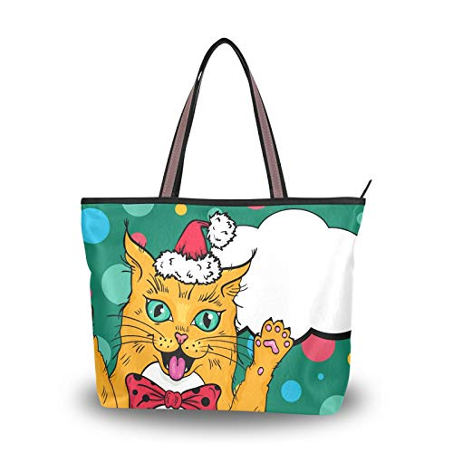 Purse Shopping for Women Girls Ladies Student Shoulder Bags Tote Bag Light Weight Strap Christmas Animal Cat Handbags