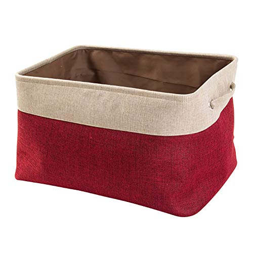 Likense Collapsible Large Storage Bins Basket Canvas Fabric Tweed Storage Organizer Cube Set W/Handles for Nursery Kids Toddlers Home and Office