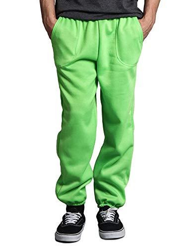 Victorious Men's Elastic Cuff Fleece Sweatpants - HILLSP - Lime - Large