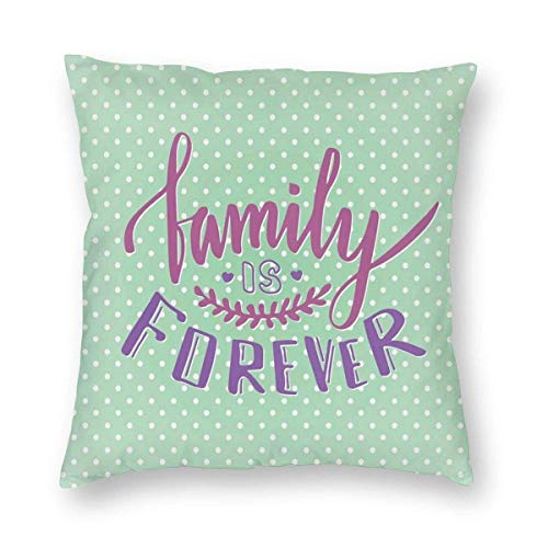 QUEMIN for her Classical Polka Dots Background Creative Lettering Quote About Family 18 x 18 Inches Cushion Case Luxury European Throw Pillow Cover Decorative Pillow for Couch Living Room Bedroom Car