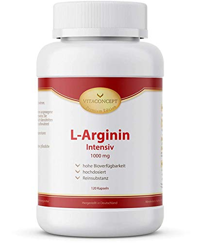 L-Arginin Kapseln Hochdosiert I 1000 mg pro Kapsel I nur 3 Kapseln täglich I 98,7% reines L-Arginin I Laborgeprüft, Vegan und Made in Germany I VITACONCEPT