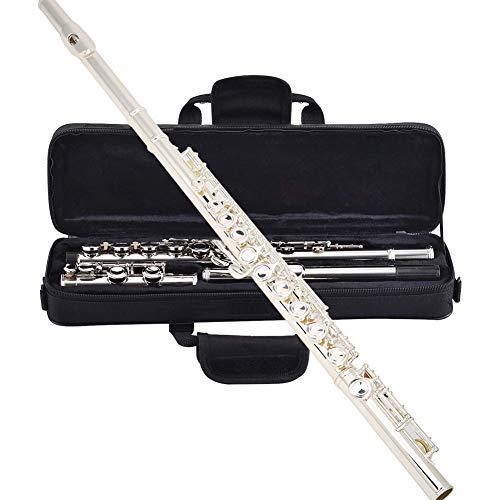 Flauto in C 16 fori chiusi Strumento per flauto traverso Set per principianti flauto nichelato, argento placcato rame-nichel 16 fori Chiave C con supporto per flauto Custodia panno per pulizia guanti