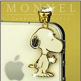 IP210-B Cute Snoopy Dog pet 3.5mm Ear Jack Anti Dust Plug Cover for iPhone & Android