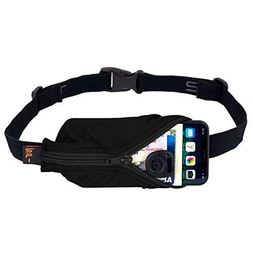 SPIbelt Running Belt Large Pocket, No-Bounce Waist Pack for Runners, Sport Pouch iPhone 6 7 8-Plus X Athletes (Black with Black Zipper, 25' Through 47')