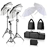 GloShooting Photography Umbrella Continuous Lighting Kit, Professional 600w Photo Studio White Reflective Umbrella with Light Stand and 2 Sand Bags for Portrait, Video, Photoshoot