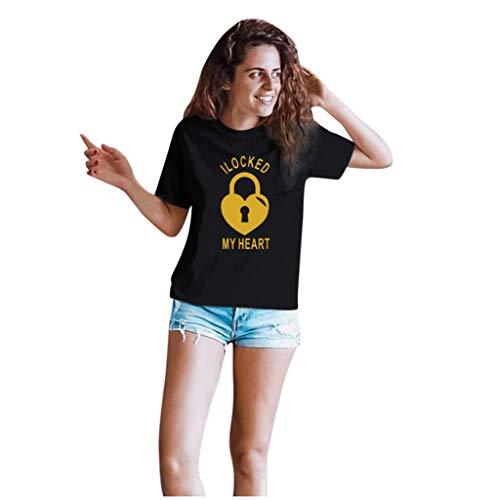 Dasongff Couple-shirts voor dames en heren, cadeauset voor verliefden, partnerlook, sleutels en vergrendeling X-Large zwart/dames.