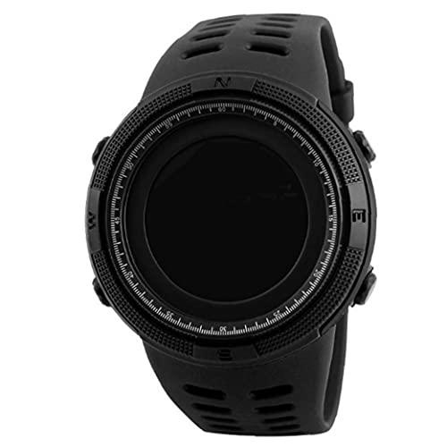 Reloj de los Deportes al Aire Libre para Hombre Negro electrónico Digital de Cuenta atrás de Lectura fácil con Cuero Brazalete Cronómetro Impermeable