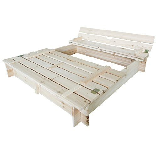 Habau 3022 Sandkasten mit Deckel und Bank, 120x120x20 cm - 2